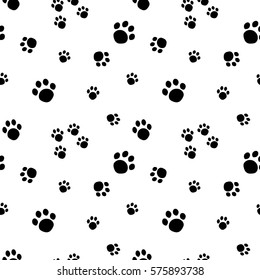 Paw print seamless pattern isolated on white background. Animal Tracks.