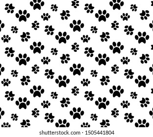 Paw print seamless pattern  vector illustration graphic on background