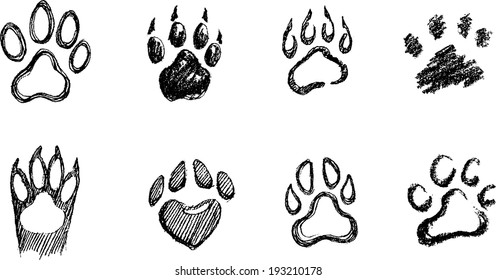 Paw Print Set in different hand drawn techniques