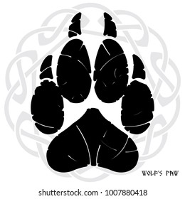 The paw print of a Wolf. On the backdrop of Norse-Celtic ornament, isolated on white, vector illustration