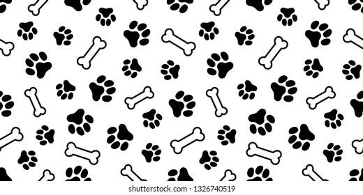 Paw Prints & Dog Bone Pattern. Vector Illustration
