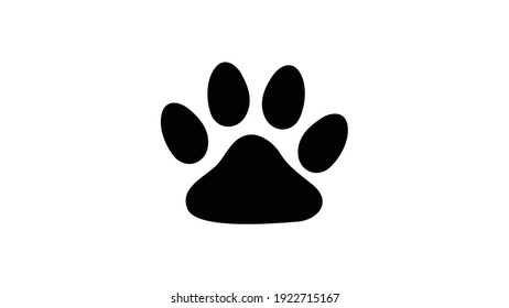 Paw prints of dog isolated on white, Black footprints of dogs - vector illustration