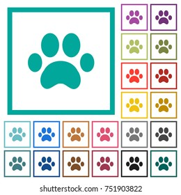 Paw prints flat color icons with quadrant frames on white background
