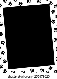 Paw prints frame and empty black space