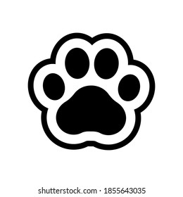 Paw prints. Icon dog and cat. Footprint pet. Foot puppy isolated on white background. Black silhouette shape paw. Cute sticker. Walk pets dogs and cats for design. Animal track. Trace walks. Vector