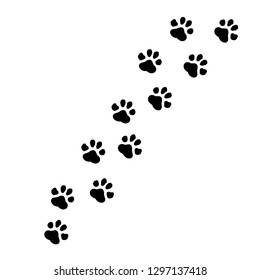Paw prints icon in flat style. Footprints animals symbol for your web site design, logo, app, UI Vector EPS 10.