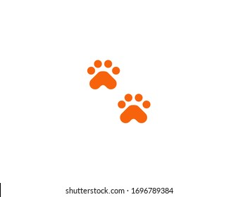 Paw prints vector flat icon. Animal foot prints emoji illustration