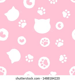 Paw seamless pattern. hand drawn with footprint, head cat and heart , cute animal foot trails on pink background. Vector illustration.
