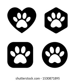 The paw track in the heart, circle, square, hexagon. vector cat and dog paw print logo
