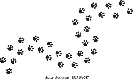 Paw trail footprints vector in black color