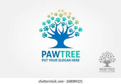 Paw Tree Vector Logo Illustration. It's a paw incorporate with a tree object, this logo try to communicate a protection for your dogcat or other pet animal.
