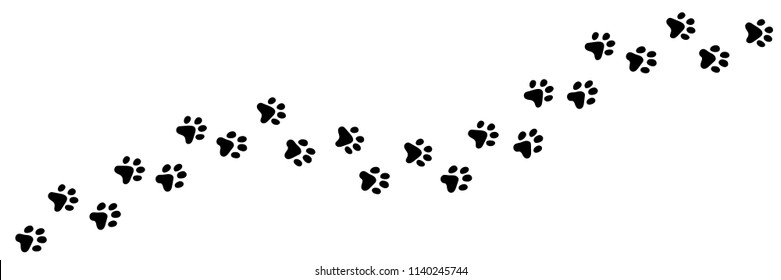 Paw vector foot trail print of cat. Dog, puppy silhouette animal diagonal tracks for t-shirts, backgrounds, patterns, websites, showcases design, greeting cards, child prints and etc.