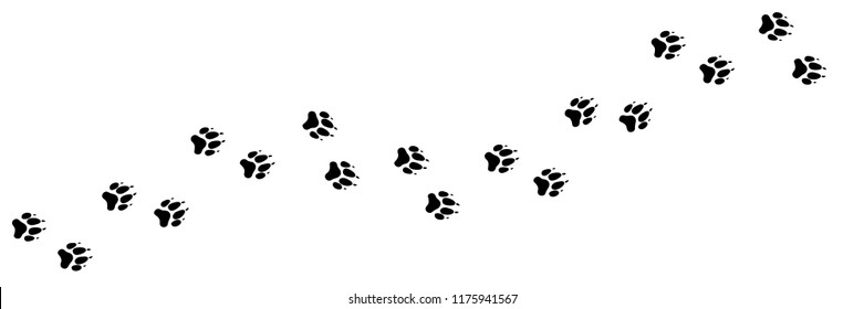 Paw vector foot trail print of dog, wolf. Dog puppy silhouette animal diagonal tracks for t-shirts, backgrounds, patterns, websites, showcases design, greeting cards, child prints. It's a brush