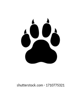Paw vector foot trail print of cat. Dog, puppy silhouette icon, logo isolated on white background
