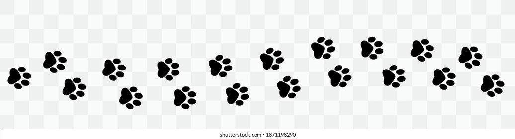 Paw vector foot trail print . Dog, puppy,cat,bear,wolf silhouette animal. Paw print trail on transparent background. Vector illustration