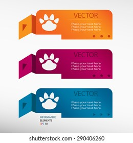 Paw, web icon on origami paper banners. Can be used for work flow layout, diagram, business step options, banner, web design