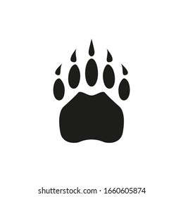 Paw wild animal foot vector cartoon black icon trace. Simple flat illustration.