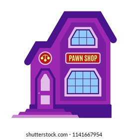 Pawn shop icon, symbol. Facade of the building, storefront in cartoon or flat style. Sign of the house is purple color. Stylish image pawnshop. Vector illustration isolated on white background.
