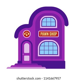 Pawn shop icon, symbol. Facade of the building, storefront in flat or cartoon style. Sign of the house is purple color. Stylish image pawnshop. Vector illustration isolated on white background.