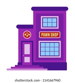 Pawn shop icon, symbol. Facade of the building, storefront in cartoon or flat style. Sign of the house is purple color. Stylish image pawnshop. Vector illustration isolated on white background