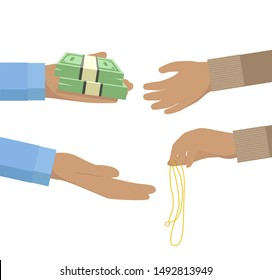 Pawnbroker hand holding pile of notes and giving it to a person pawning jewelry flat icon design