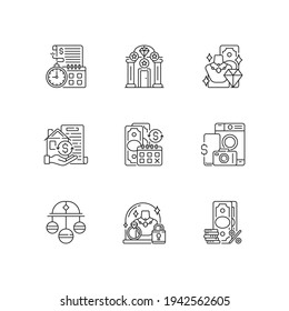 Pawnbrokery linear icons set. Time limit. Upscale pawnshops. Product valuable. Collateral. Pledge safety. Customizable thin line contour symbols. Isolated vector outline illustrations. Editable stroke