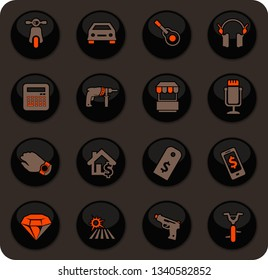 Pawnshop color vector icons on dark background for user interface design