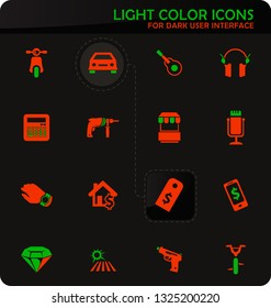 Pawnshop easy color vector icons on dark background for user interface design