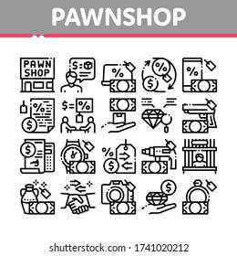Pawnshop Exchange Collection Icons Set Vector. Pawnshop Building And Handshake, Laptop And Phone, Photo Camera And Jewelry Stone Concept Linear Pictograms. Monochrome Contour Illustrations
