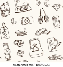 Pawnshop hand drawn doodle seamless pattern. Sketches. Vector illustration for design and packages product. Symbol collection.