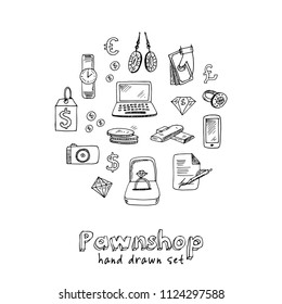 Pawnshop hand drawn doodle set. Sketches. Vector illustration for design and packages product. Symbol collection.