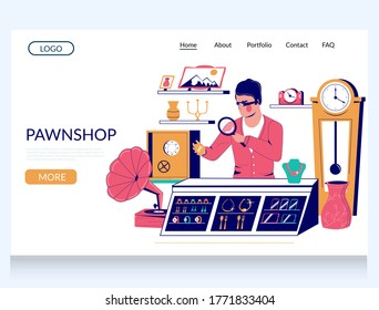Pawnshop vector website template, landing page design for website and mobile site development. Pawnshop expert appraiser looking at jewelry, expensive valuable thing under magnifying glass.