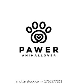 Paws Logo Vector With Heart Icon