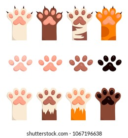 Paws up pets copy space background. Cute paws. Set. Vector illustration