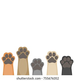 Paws up pets copy space background