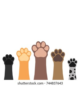 Paws up pets set isolated on white background.