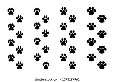 Paws print vector on white background, flat