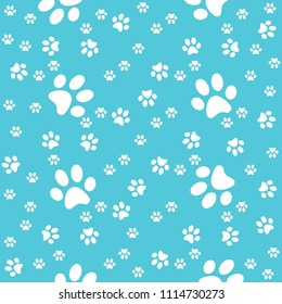 Paws seamless turquoise background, paw pattern, vector illustration