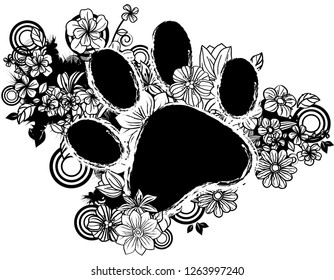 paws shape with flora design