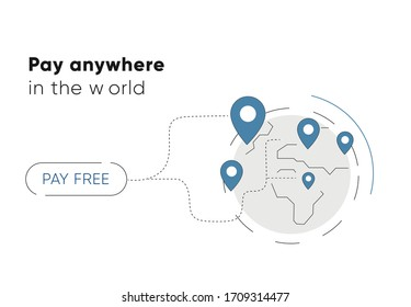 Pay another customer-anywhere in the world-for free. icon for an online wallet . The world , satellite address