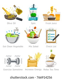 Pay attention to health by choosing good food with the body set 2. Foods with health benefits. Simple illustrations for Nutrition. The introduction of a balanced diet.