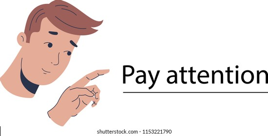Pay attention sign person vector image