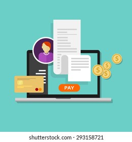 pay bills tax online receipt via computer or laptop