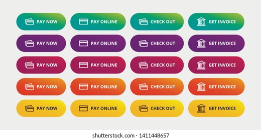 Pay buttons set - Pay now, Pay online, Check out, Get invoice modern button. Green payment button