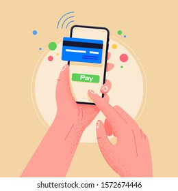 Pay by credit card via electronic wallet wirelessly on phone. New mobile banking app and e-payment vector illustration. Hand with smartphone  online banking. Shopping by phone and connected card.