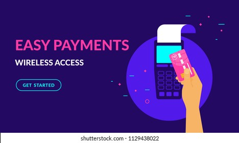 Pay by credit card wirelessly and easy flat vector neon illustration for ui ux web design with text and button. Illustration of wireless mobile payment by credit card via POS terminal.