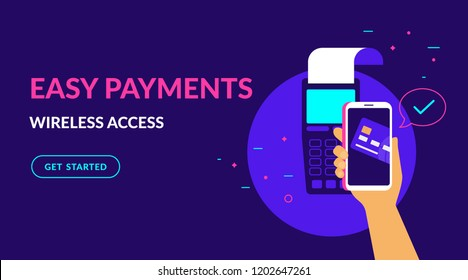 Pay by credit card in your mobile wallet wirelessly and easy flat vector neon illustration for web banner. Illustration of wireless mobile payment by phone connected credit card via POS terminal.