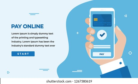 Pay with Card Design Concept with Businessman Hand Holding a Smartphone with Online Payment on Screen, Button, Headline and Text Place. Web banner, Infographics, Hero images. Flat Vector illustration