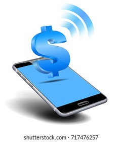 Pay Cash by Cell, Mobile Smart Phone concept with money symbol