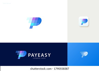 Pay easy logo with blue tone square design, concept of crypto wallet and fast online payment